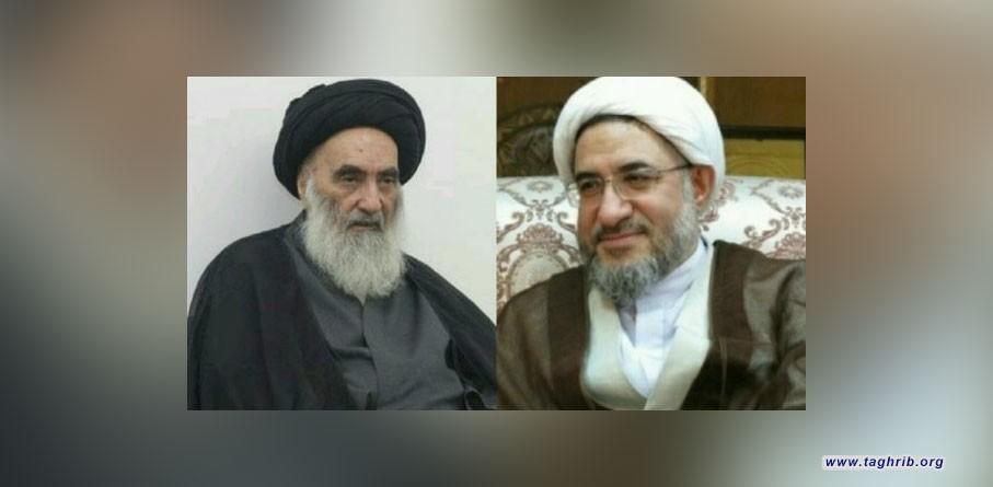 السيد السيستاني عند استقباله الشيخ الاراكي : ارادوها حربا مذهبية في العراق ففشلوا