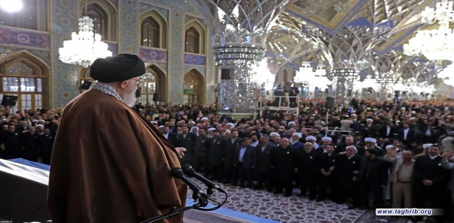 مشاركة وكلمة الإمام الخامنئي في حرم الإمام الرضا بمناسبة حلول عام ١٣٩٨ هجري شمسي