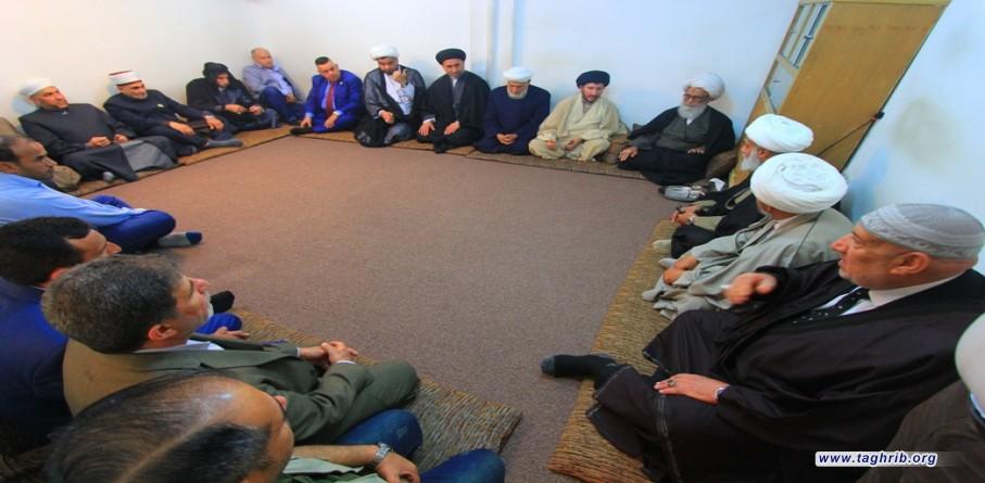 المرجع النجفي يستقبل وفداً من مختلف الديانات والمذاهب الإِسلامية