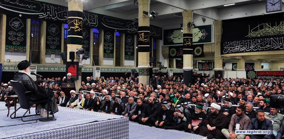 قائد الثورة الاسلامية يستقبل اصحاب المواكب والهيئات الحسينية في العراق + صور