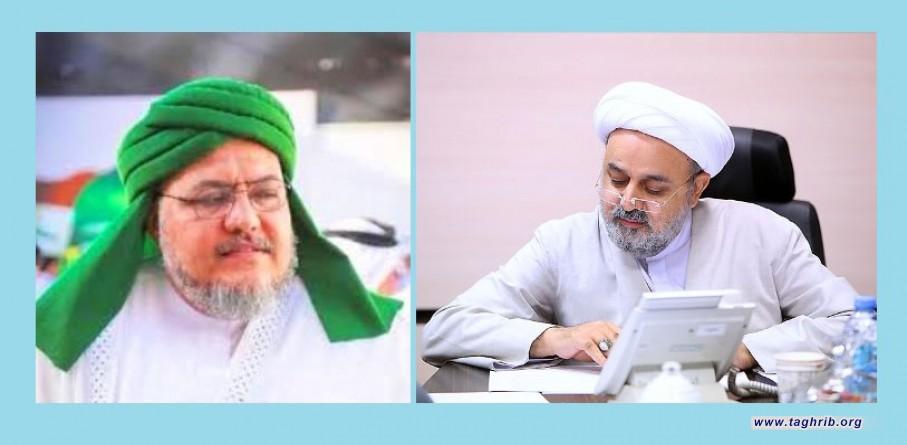 اتصال هاتفي للأمين العالم للمجمع العالمي للتقريب بين المذاهب الإسلامية مع رئيس مجلس علماء الرباط المحمدي