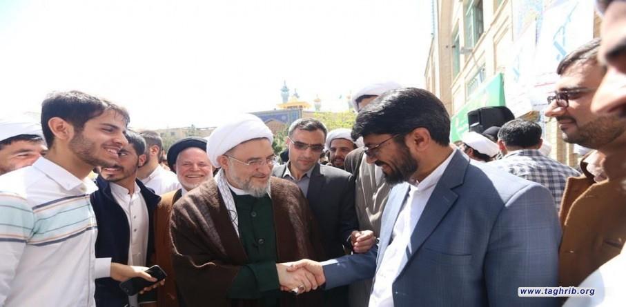 آية الله الاراكي يشارك في وقفة تضامنية لطلاب العلوم الدينية وعلمائها في دعم حرس الثورة الإسلامية بقم المقدسة
